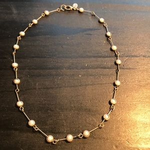Cute Express silvertone and faux pearl necklace